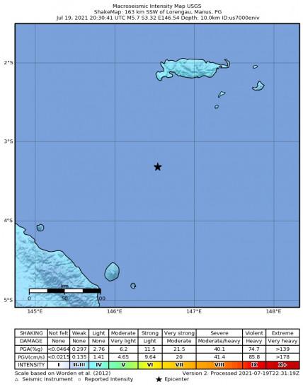 Macroseismic Intensity Map for the Lorengau, Papua New Guinea 5.7m Earthquake, Tuesday Jul. 20 2021, 6:30:41 AM