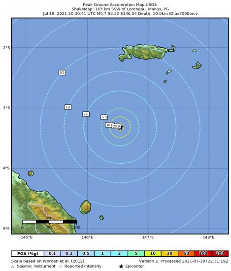 Peak Ground Acceleration Map for the Lorengau, Papua New Guinea 5.7m Earthquake, Tuesday Jul. 20 2021, 6:30:41 AM