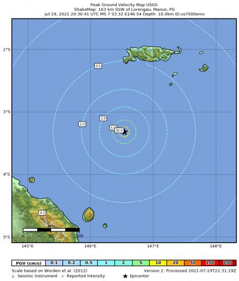 Peak Ground Velocity Map for the Lorengau, Papua New Guinea 5.7m Earthquake, Tuesday Jul. 20 2021, 6:30:41 AM