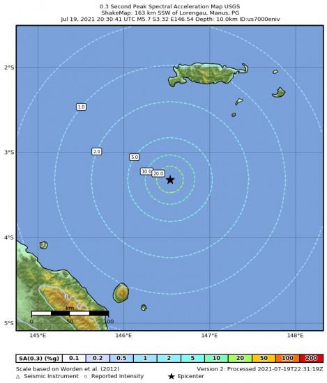 0.3 Second Peak Spectral Acceleration Map for the Lorengau, Papua New Guinea 5.7m Earthquake, Tuesday Jul. 20 2021, 6:30:41 AM