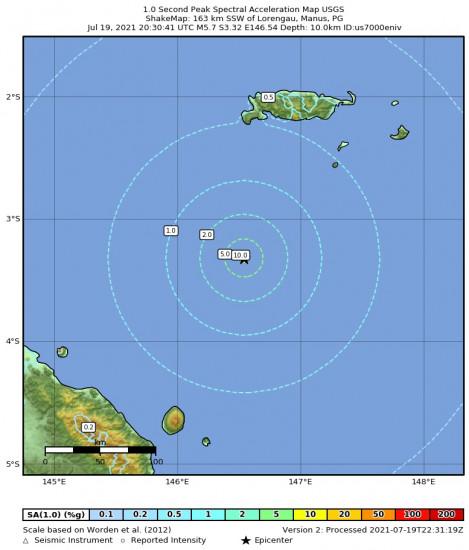 1 Second Peak Spectral Acceleration Map for the Lorengau, Papua New Guinea 5.7m Earthquake, Tuesday Jul. 20 2021, 6:30:41 AM
