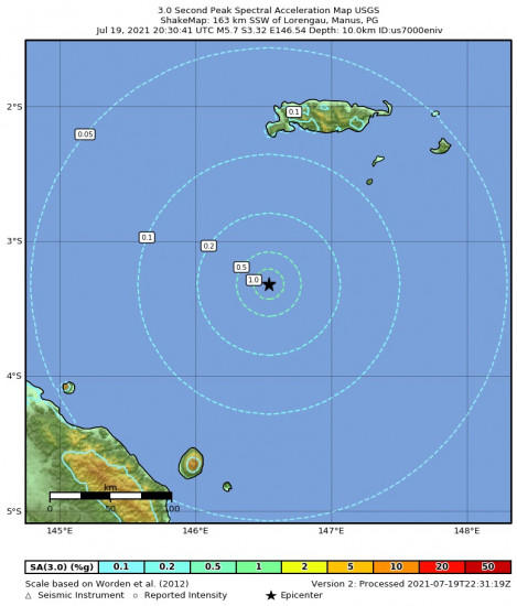 3 Second Peak Spectral Acceleration Map for the Lorengau, Papua New Guinea 5.7m Earthquake, Tuesday Jul. 20 2021, 6:30:41 AM