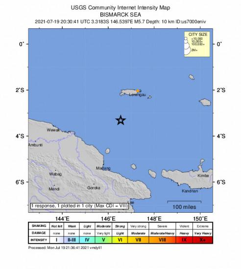 Community Internet Intensity Map for the Lorengau, Papua New Guinea 5.7m Earthquake, Tuesday Jul. 20 2021, 6:30:41 AM