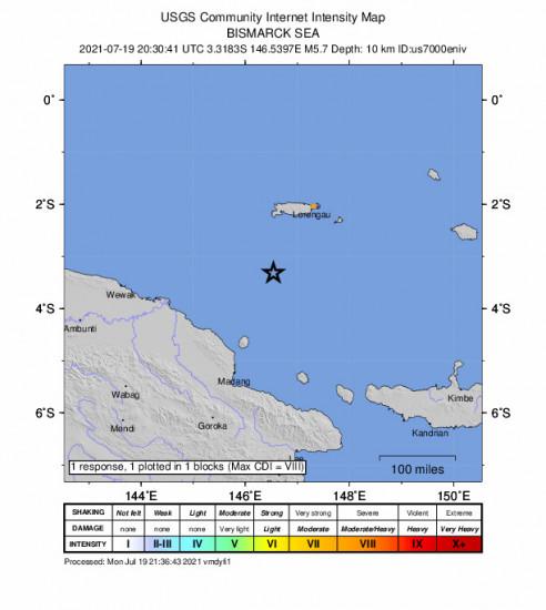 GEO Community Internet Intensity Map for the Lorengau, Papua New Guinea 5.7m Earthquake, Tuesday Jul. 20 2021, 6:30:41 AM