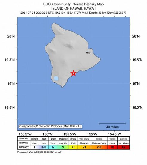GEO Community Internet Intensity Map for the Pāhala, Hawaii 3.15m Earthquake, Wednesday Jul. 21 2021, 10:30:28 AM