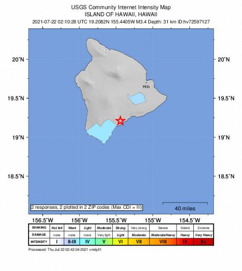 Community Internet Intensity Map for the Pāhala, Hawaii 3.37m Earthquake, Wednesday Jul. 21 2021, 4:10:28 PM