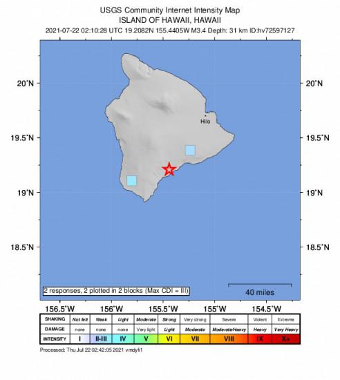 GEO Community Internet Intensity Map for the Pāhala, Hawaii 3.37m Earthquake, Wednesday Jul. 21 2021, 4:10:28 PM