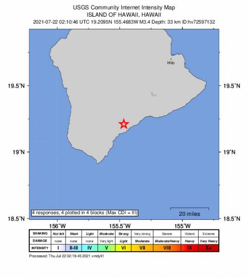 GEO Community Internet Intensity Map for the Pāhala, Hawaii 3.36m Earthquake, Wednesday Jul. 21 2021, 4:10:46 PM