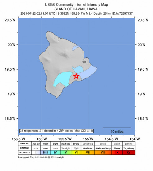 Community Internet Intensity Map for the Volcano, Hawaii 3.43m Earthquake, Wednesday Jul. 21 2021, 4:11:04 PM