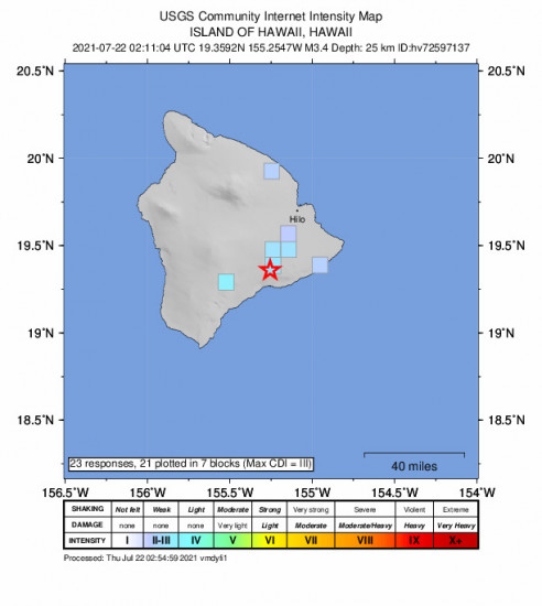 GEO Community Internet Intensity Map for the Volcano, Hawaii 3.43m Earthquake, Wednesday Jul. 21 2021, 4:11:04 PM