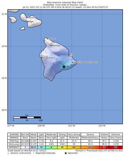 Macroseismic Intensity Map for the Volcano, Hawaii 3.43m Earthquake, Wednesday Jul. 21 2021, 4:11:04 PM