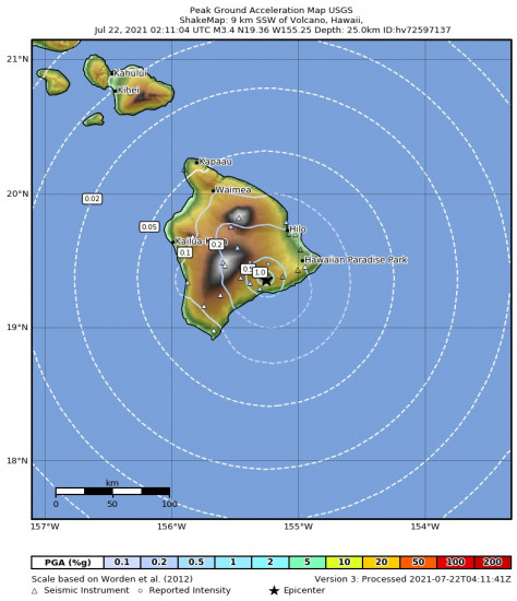 Peak Ground Acceleration Map for the Volcano, Hawaii 3.43m Earthquake, Wednesday Jul. 21 2021, 4:11:04 PM