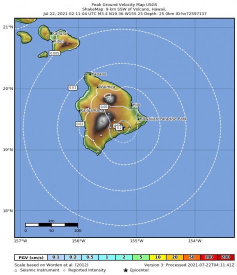 Peak Ground Velocity Map for the Volcano, Hawaii 3.43m Earthquake, Wednesday Jul. 21 2021, 4:11:04 PM