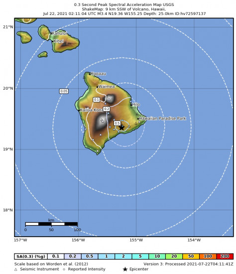 0.3 Second Peak Spectral Acceleration Map for the Volcano, Hawaii 3.43m Earthquake, Wednesday Jul. 21 2021, 4:11:04 PM