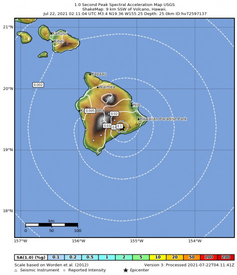 1 Second Peak Spectral Acceleration Map for the Volcano, Hawaii 3.43m Earthquake, Wednesday Jul. 21 2021, 4:11:04 PM