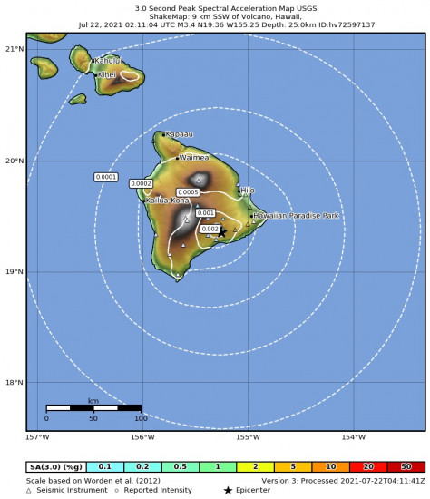 3 Second Peak Spectral Acceleration Map for the Volcano, Hawaii 3.43m Earthquake, Wednesday Jul. 21 2021, 4:11:04 PM