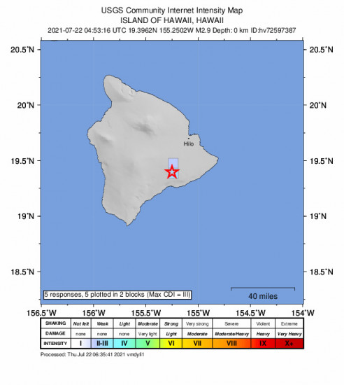 GEO Community Internet Intensity Map for the Volcano, Hawaii 2.91m Earthquake, Wednesday Jul. 21 2021, 6:53:16 PM