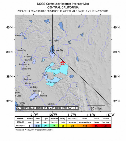 Community Internet Intensity Map for the Smith Valley, Nv 3.97m Earthquake, Tuesday Jul. 13 2021, 8:46:13 PM
