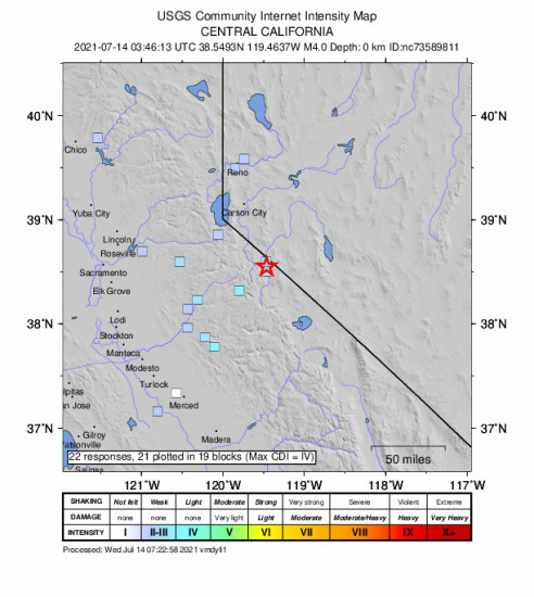 GEO Community Internet Intensity Map for the Smith Valley, Nv 3.97m Earthquake, Tuesday Jul. 13 2021, 8:46:13 PM