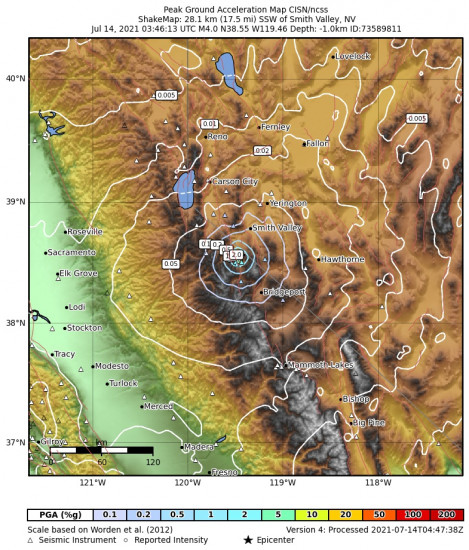 Peak Ground Acceleration Map for the Smith Valley, Nv 3.97m Earthquake, Tuesday Jul. 13 2021, 8:46:13 PM
