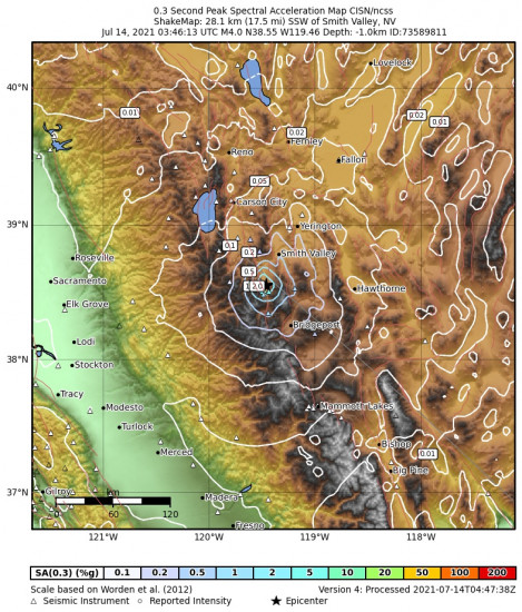 0.3 Second Peak Spectral Acceleration Map for the Smith Valley, Nv 3.97m Earthquake, Tuesday Jul. 13 2021, 8:46:13 PM
