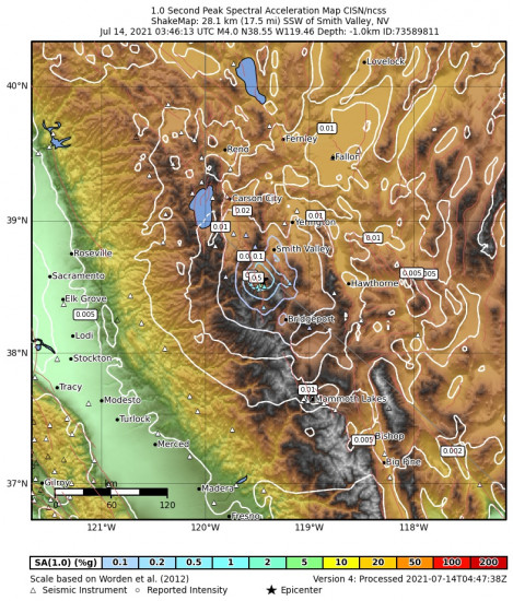 1 Second Peak Spectral Acceleration Map for the Smith Valley, Nv 3.97m Earthquake, Tuesday Jul. 13 2021, 8:46:13 PM