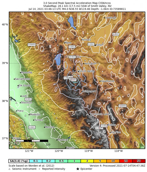 3 Second Peak Spectral Acceleration Map for the Smith Valley, Nv 3.97m Earthquake, Tuesday Jul. 13 2021, 8:46:13 PM