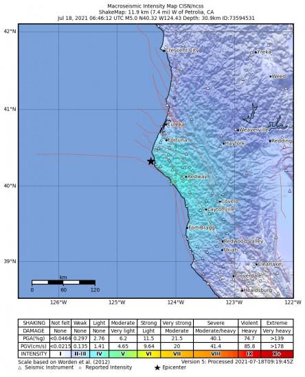 Macroseismic Intensity Map for the Petrolia, Ca 5.05m Earthquake, Saturday Jul. 17 2021, 11:46:12 PM