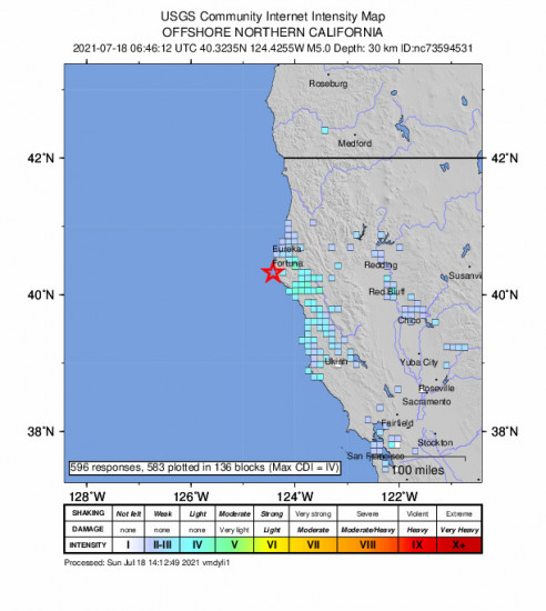 GEO Community Internet Intensity Map for the Petrolia, Ca 5.05m Earthquake, Saturday Jul. 17 2021, 11:46:12 PM