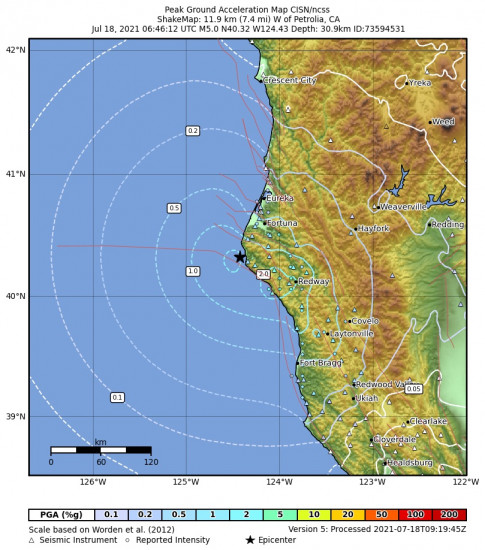 Peak Ground Acceleration Map for the Petrolia, Ca 5.05m Earthquake, Saturday Jul. 17 2021, 11:46:12 PM