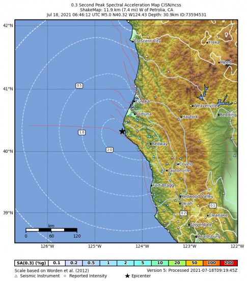 0.3 Second Peak Spectral Acceleration Map for the Petrolia, Ca 5.05m Earthquake, Saturday Jul. 17 2021, 11:46:12 PM