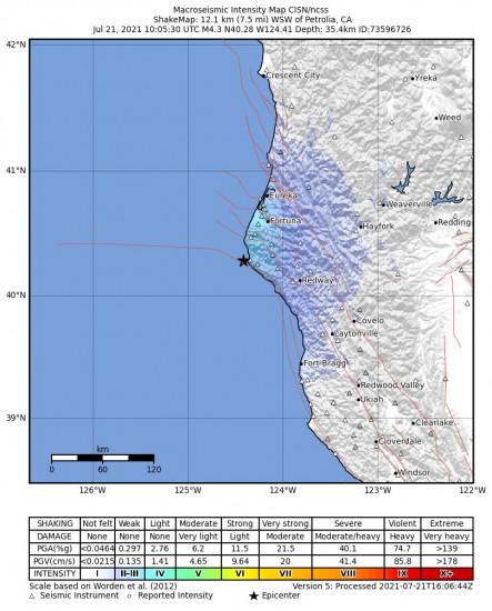Macroseismic Intensity Map for the Petrolia, Ca 4.31m Earthquake, Wednesday Jul. 21 2021, 3:05:30 AM