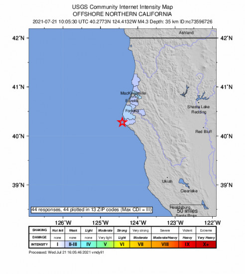 Community Internet Intensity Map for the Petrolia, Ca 4.31m Earthquake, Wednesday Jul. 21 2021, 3:05:30 AM