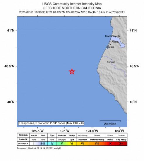Community Internet Intensity Map for the Petrolia, Ca 2.81m Earthquake, Wednesday Jul. 21 2021, 3:36:38 AM