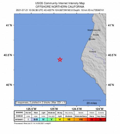 GEO Community Internet Intensity Map for the Petrolia, Ca 2.81m Earthquake, Wednesday Jul. 21 2021, 3:36:38 AM
