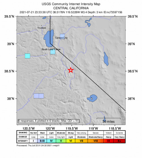GEO Community Internet Intensity Map for the Markleeville, Ca 3.36m Earthquake, Wednesday Jul. 21 2021, 4:33:38 PM