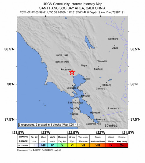 GEO Community Internet Intensity Map for the Black Point-green Point, Ca 2.78m Earthquake, Wednesday Jul. 21 2021, 5:56:01 PM