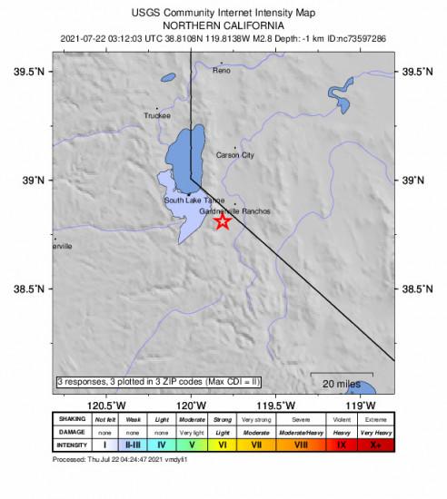 Community Internet Intensity Map for the Mesa Vista, Ca 2.75m Earthquake, Wednesday Jul. 21 2021, 8:12:03 PM