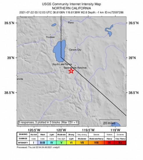 GEO Community Internet Intensity Map for the Mesa Vista, Ca 2.75m Earthquake, Wednesday Jul. 21 2021, 8:12:03 PM