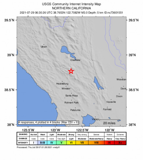 GEO Community Internet Intensity Map for the Anderson Springs, Ca 2.97m Earthquake, Wednesday Jul. 28 2021, 11:30:26 PM