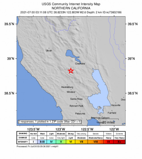 Community Internet Intensity Map for the The Geysers, Ca 2.56m Earthquake, Thursday Jul. 29 2021, 8:11:08 PM