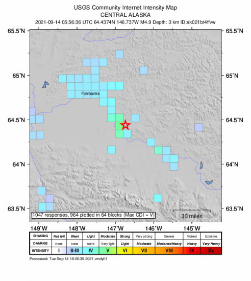 GEO Community Internet Intensity Map for the Central Alaska 4.9m Earthquake, Monday Sep. 13 2021, 9:56:36 PM