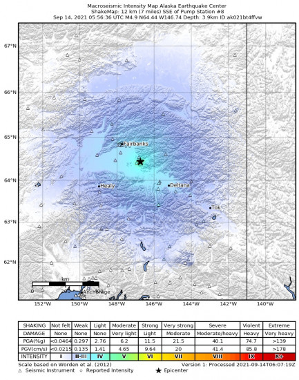 Macroseismic Intensity Map for the Central Alaska 4.9m Earthquake, Monday Sep. 13 2021, 9:56:36 PM
