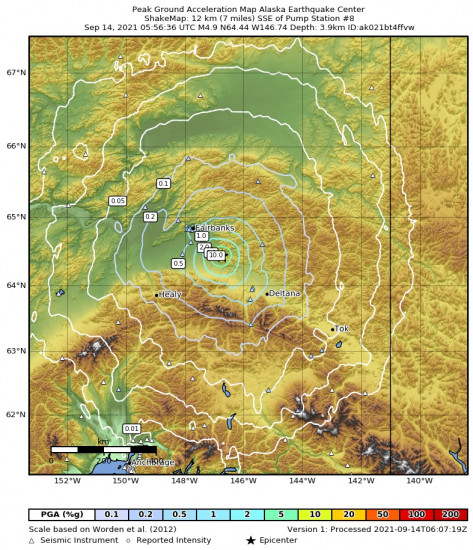 Peak Ground Acceleration Map for the Central Alaska 4.9m Earthquake, Monday Sep. 13 2021, 9:56:36 PM