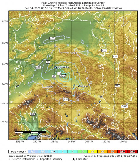 Peak Ground Velocity Map for the Central Alaska 4.9m Earthquake, Monday Sep. 13 2021, 9:56:36 PM