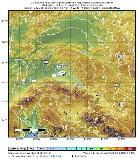0.3 Second Peak Spectral Acceleration Map for the Central Alaska 4.9m Earthquake, Monday Sep. 13 2021, 9:56:36 PM