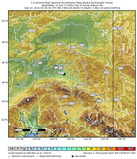 1 Second Peak Spectral Acceleration Map for the Central Alaska 4.9m Earthquake, Monday Sep. 13 2021, 9:56:36 PM