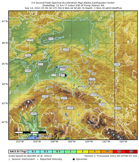 3 Second Peak Spectral Acceleration Map for the Central Alaska 4.9m Earthquake, Monday Sep. 13 2021, 9:56:36 PM