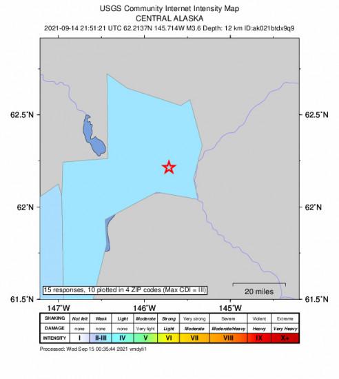 Community Internet Intensity Map for the Glennallen, Alaska 3.6m Earthquake, Tuesday Sep. 14 2021, 1:51:21 PM
