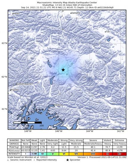 Macroseismic Intensity Map for the Glennallen, Alaska 3.6m Earthquake, Tuesday Sep. 14 2021, 1:51:21 PM